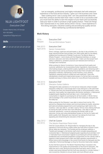 Executive Chef Resume samples - VisualCV resume samples database