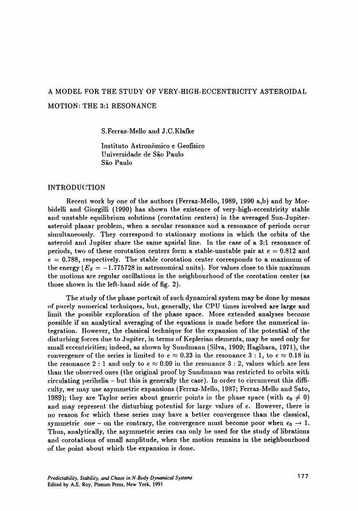 A Model for the Study of Very-High-Eccentricity Asteroidal Motion ...