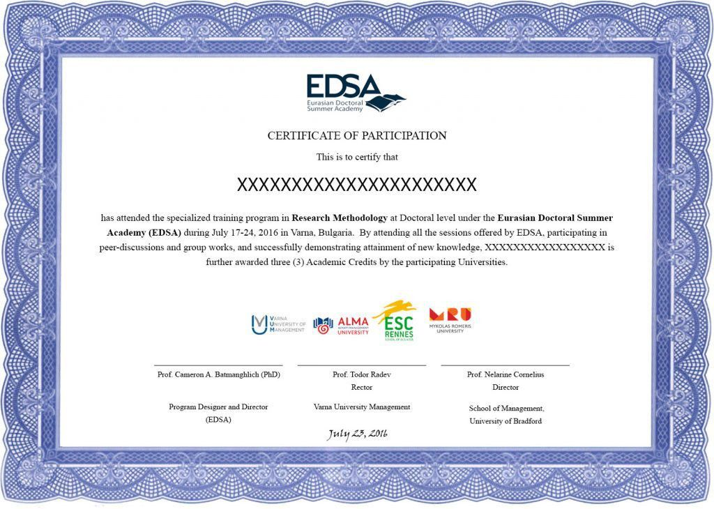 Example of the EDSA's Certificate - Eurasian Doctoral Summer Academy