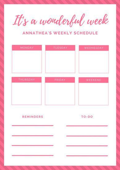 Weekly Schedule Planner Templates - Canva