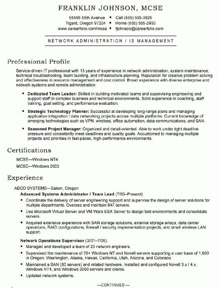 Advanced Systems Administrator Resume - Advanced Systems ...