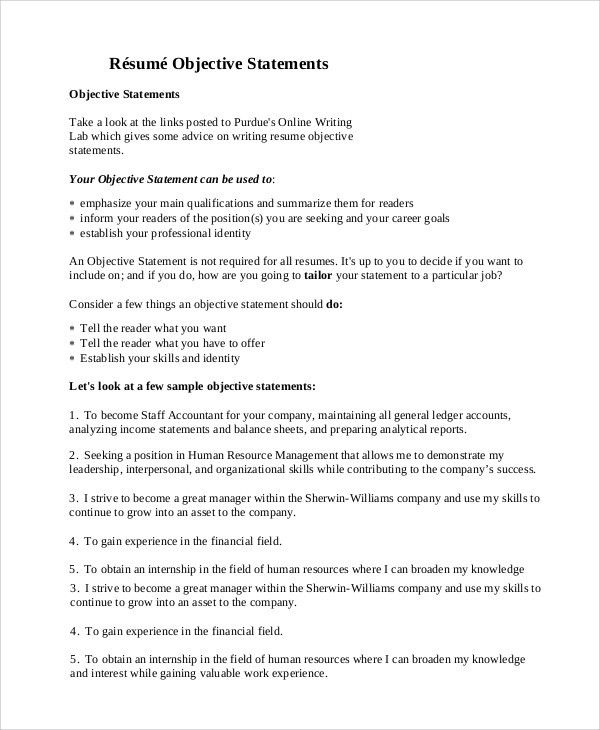 Resume Objectives Sample - 9+ Examples in Word, PDF