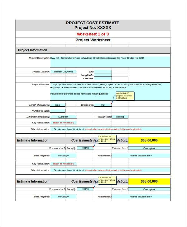 Sample Project Estimate Template - 8+ Free Documents Download in ...