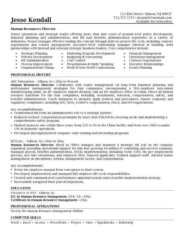 Human Resource Manager Resume 13 Download HR Manager Resume ...