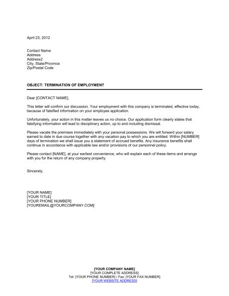 Notice of Termination False Employee Information - Template ...