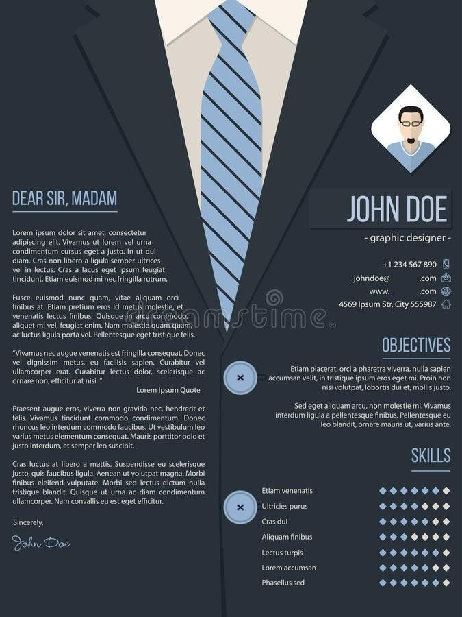 Cool Cover Letter Resume Template With Business Suit Background ...