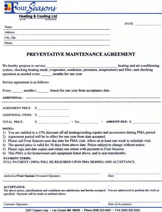 Service Agreement Contract Form - maintenance contract agreement ...