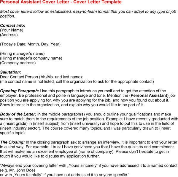 Cover Letter For Personal Assistant - My Document Blog