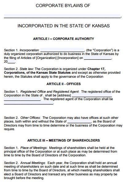 Free Kansas Corporate Bylaws Template | PDF | Word |