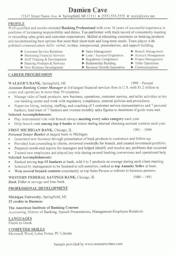 Bank Branch Manager Resume Example: Banking Resume Samples