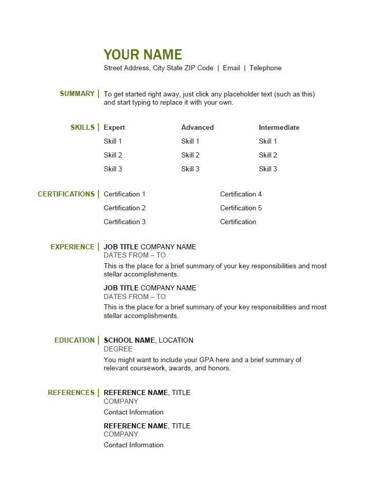 Free Resume Templates - OnForce