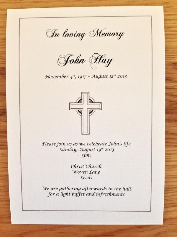 50 x Personalised Funeral Announcement / Invitation cards A6 | eBay