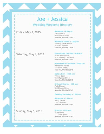 Wedding Itinerary Template: Free Download, Edit, Create, Fill and ...