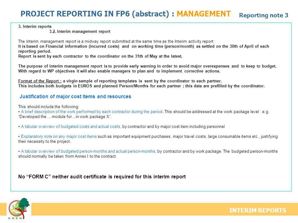 STRUCTURE SCIENTIFIC REPORT / MANAGEMENT REPORT Progress ...