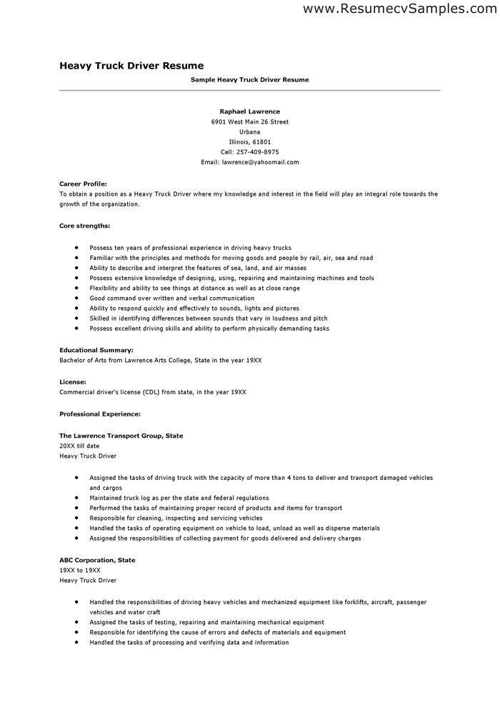 Truck Driver Resume Sample | haadyaooverbayresort.com
