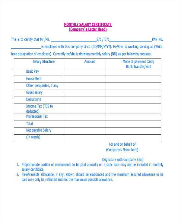 Certificate Letter Templates - 9+ Free Sample, Example Format ...