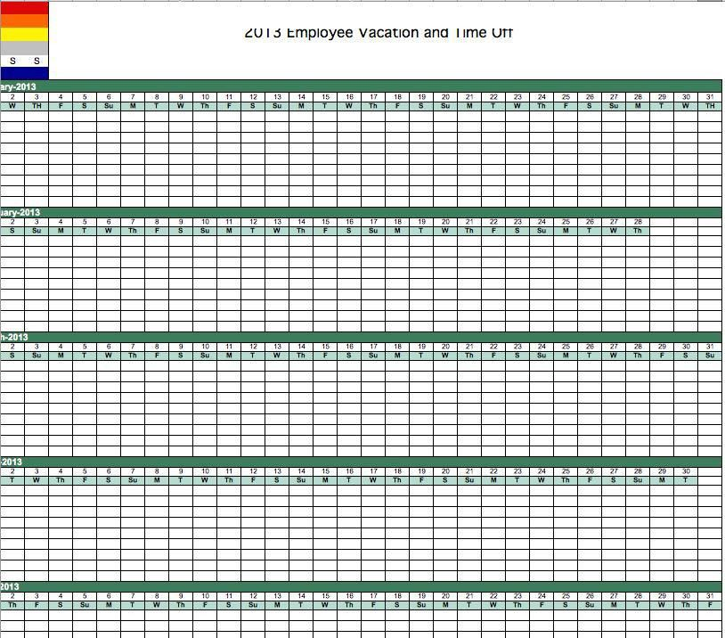vacation calendar template excel - Template