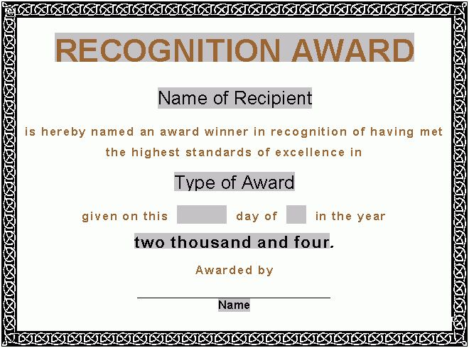 Good-looking Award Template Word Sample for Certificate with ...