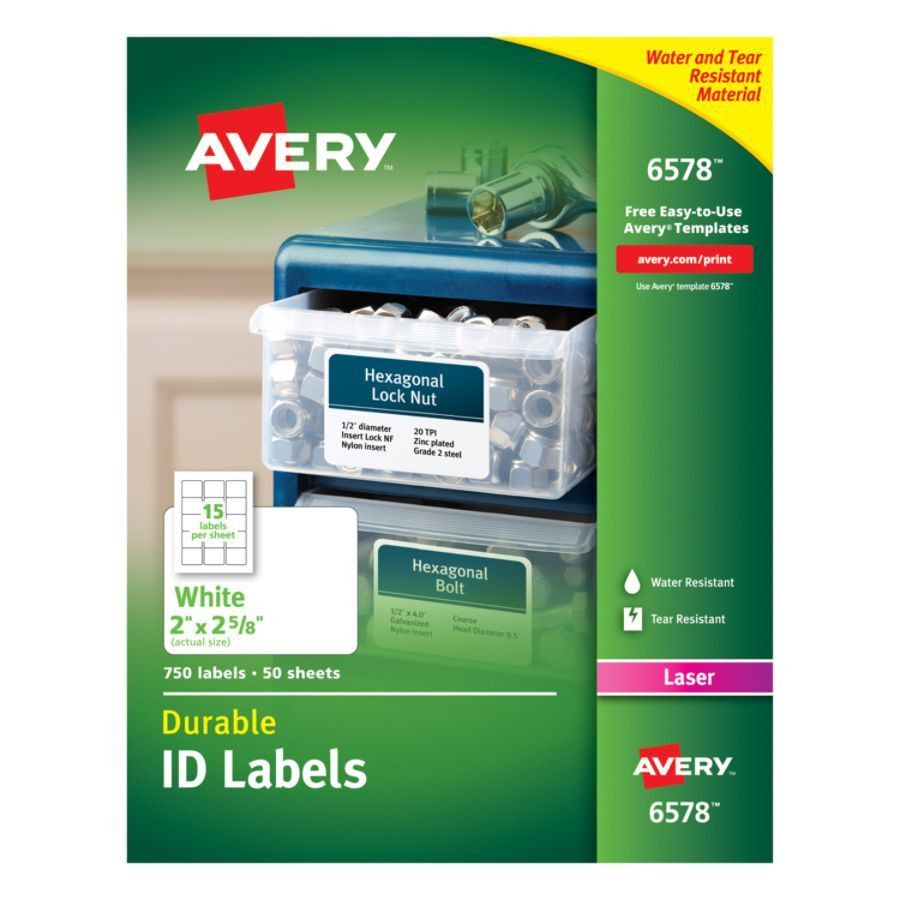 Avery Permanent Durable ID Labels With TrueBlock 2 x 2 58 White ...