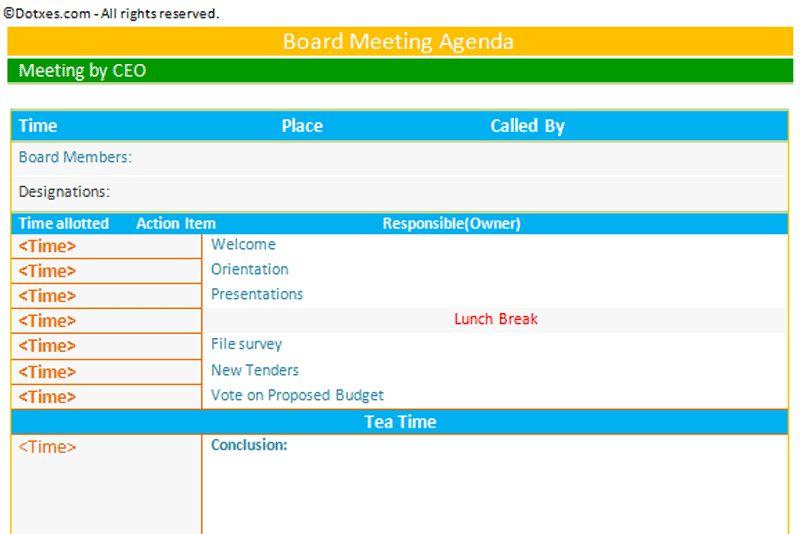 Meeting Agenda Templates - Dotxes