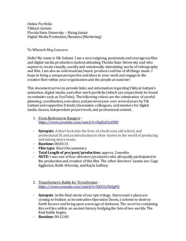 portfolio cover letter portfolio introduction sample writing ...