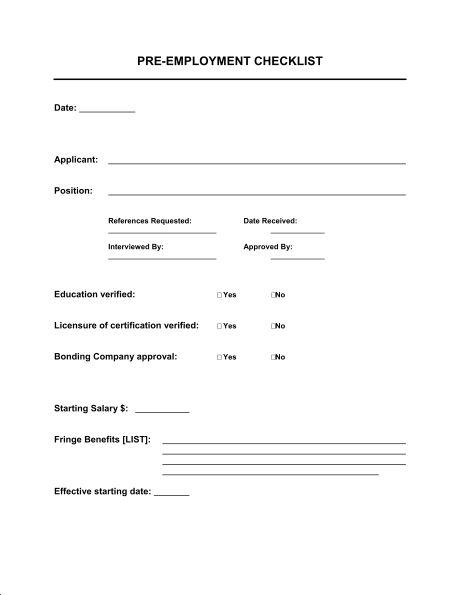 Checklist Pre-Employment - Template & Sample Form | Biztree.com