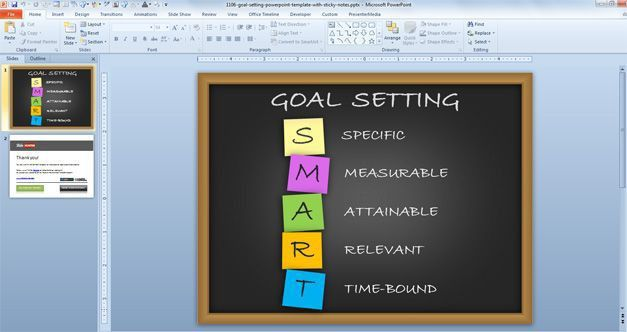 Free Goal Setting PowerPoint Template with Sticky Notes - Free ...