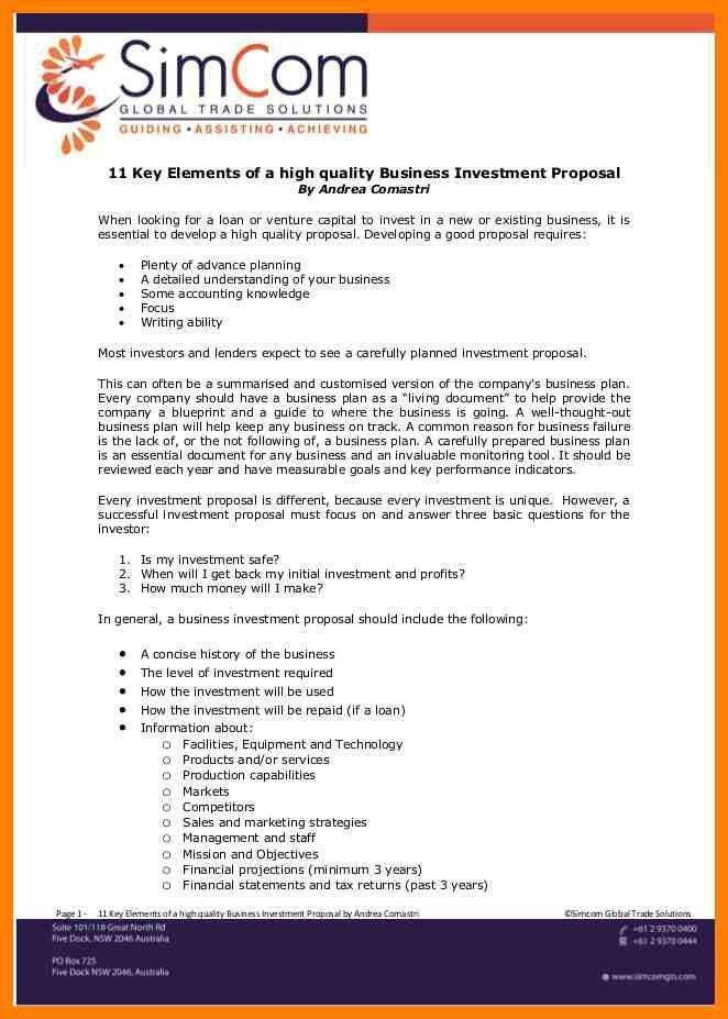 9+ investment proposal template free download | joblettered