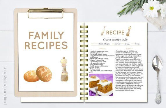 Printable editable recipe pages, recipe book template, recipe ...
