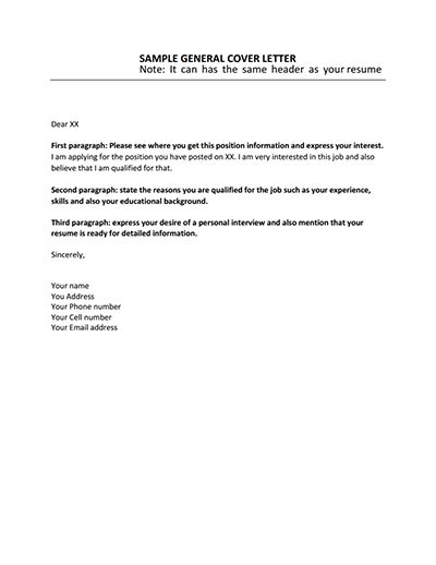 General Cover Letter Template: Download, Create, Edit & Print