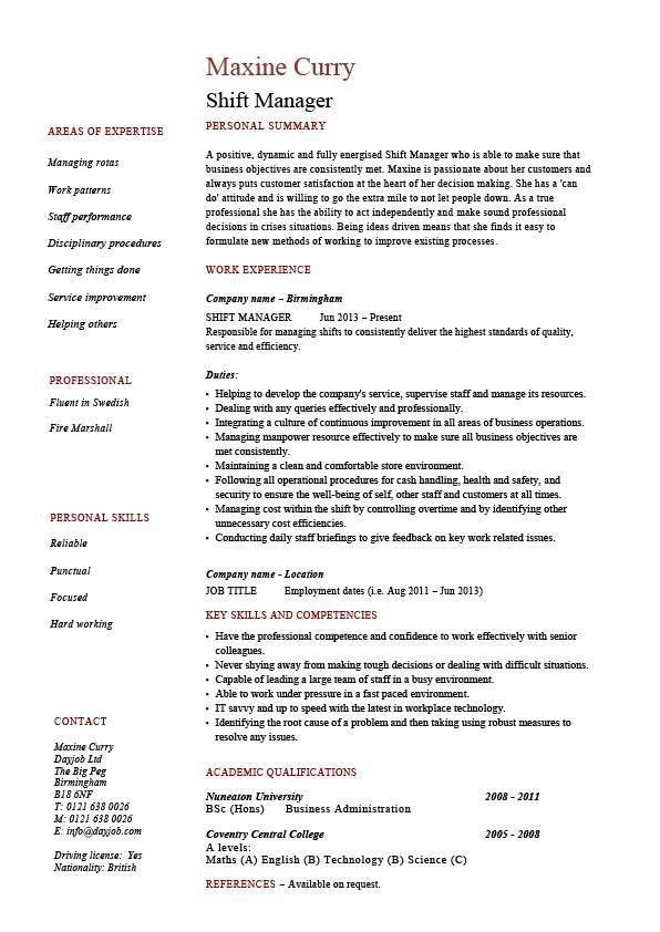 Shift manager resume, team leader, supervisor, example, sample ...