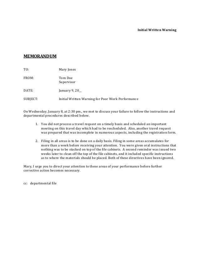 Sample Warning Letter. Warning-Letter-To-Employee-For-Poor ...