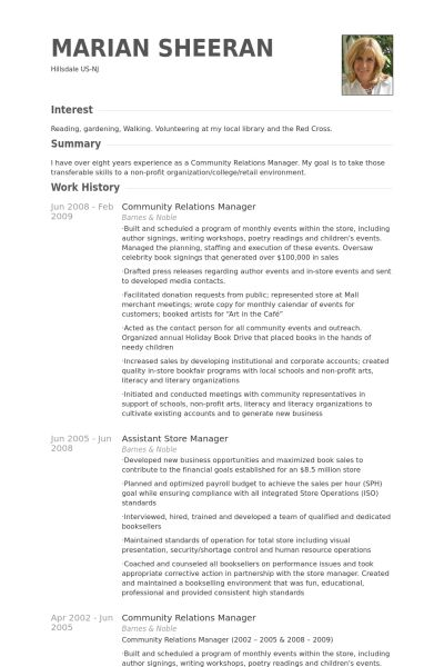 Community Relations Manager Resume samples - VisualCV resume ...
