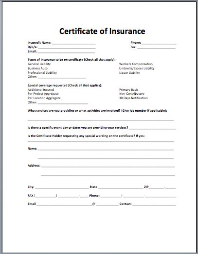 Sample Insurance Certificate | Microsoft Word Templates