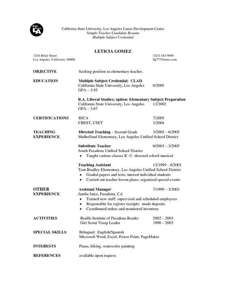 Examples Of Resumes For Teachers. Elementary School Teacher Resume ...