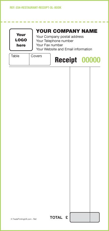 FREE Receipt Books Templates | Custom Receipt Books only £60