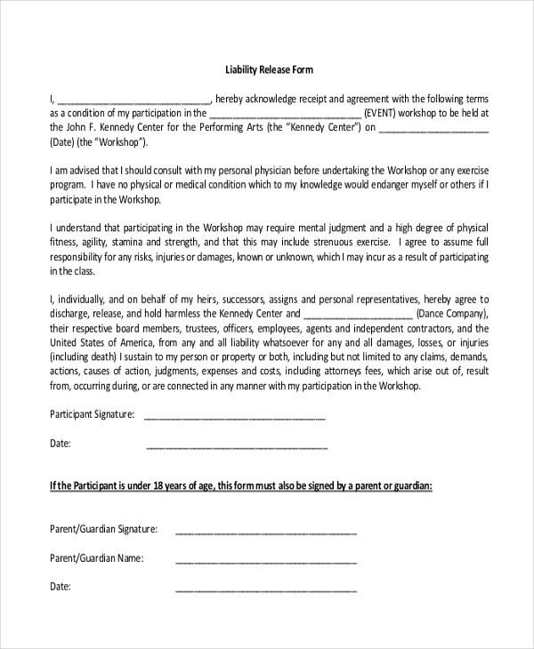 Sample Liability Release Form. Release & Consent Forms – Early ...