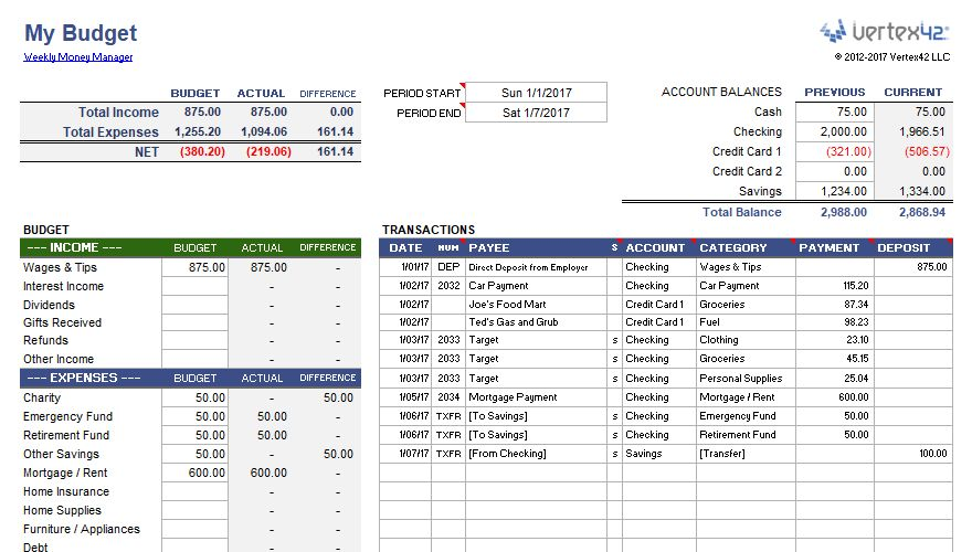 Weekly Budget Planner and Money Manager