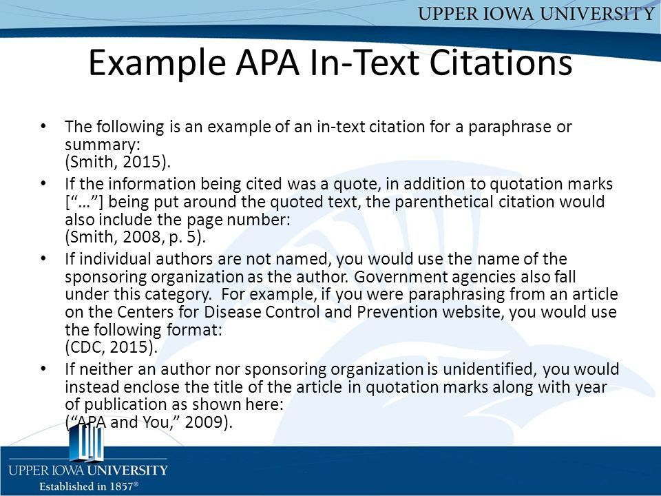 Tips for Teaching APA to Students Upper Iowa University Christine ...