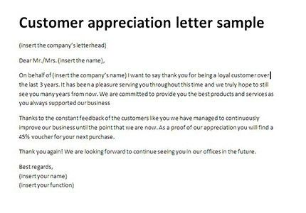 Customer appreciation letter sample | Thank you client, letter