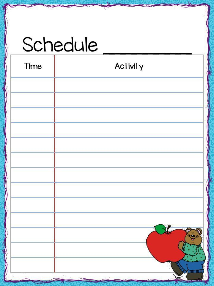 free class schedule templates