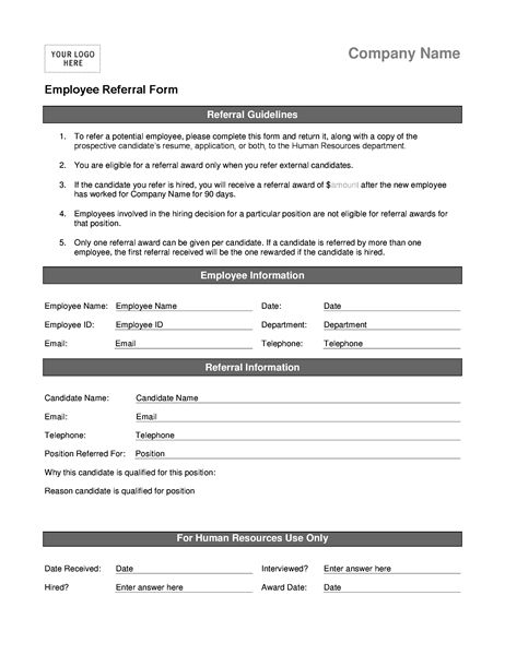 Employee referral form - Office Templates