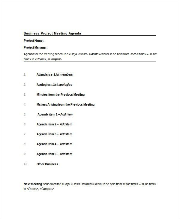 Project Meeting Agenda Template – 10+ Free Word, PDF Documents ...