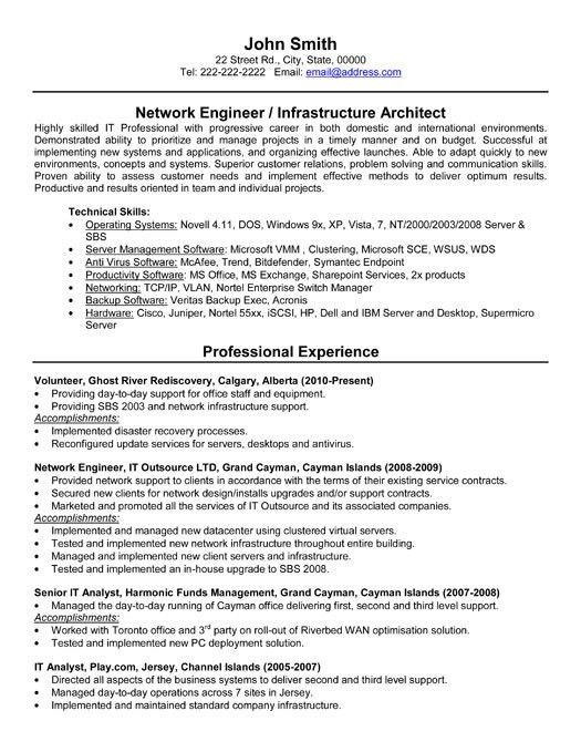 Download Part Time Network Engineer Sample Resume ...