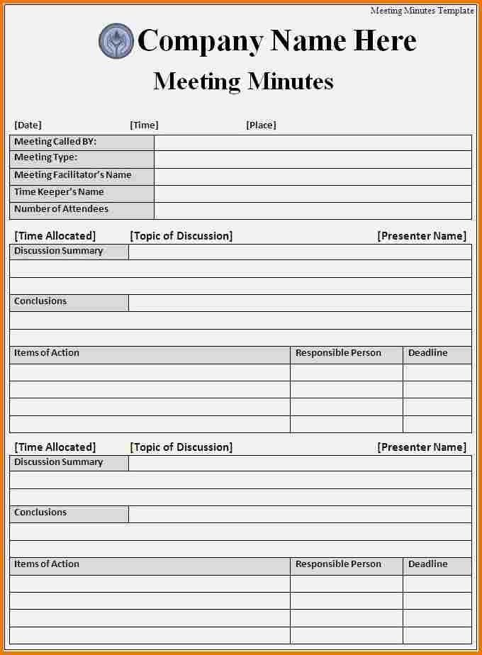 ms word meeting minutes template. free template for meeting ...