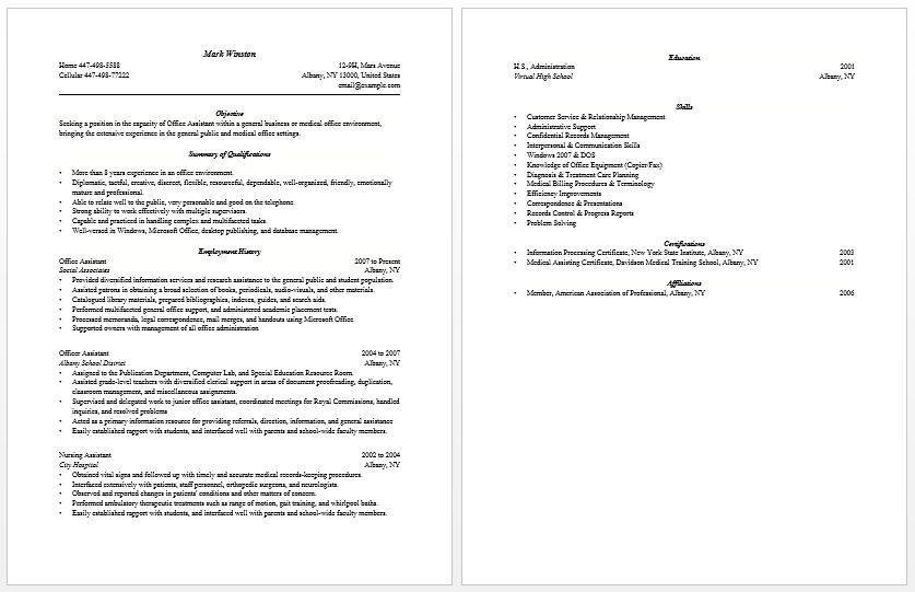 medical office assistant resume sample cover letter of medical ...