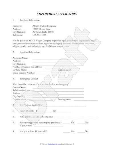 Employment Application Template - Free Job Application Sample
