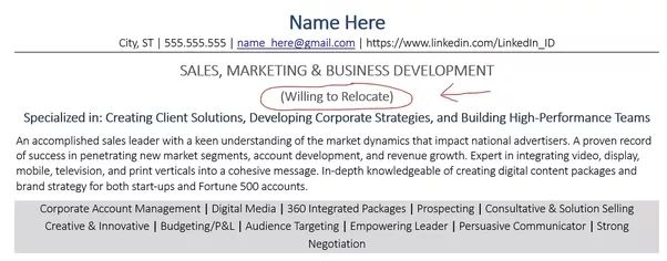 How to mention relocation in resume - Quora