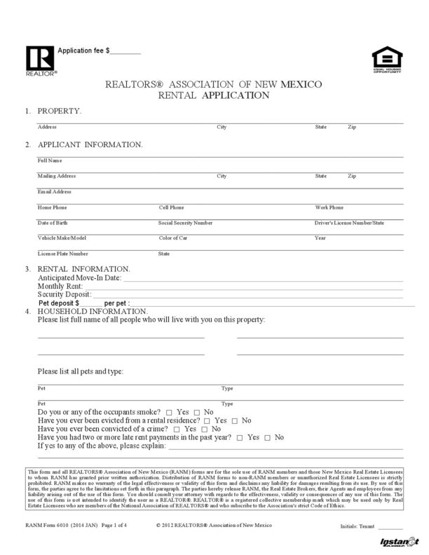New Mexico Rental Application | LegalForms.org