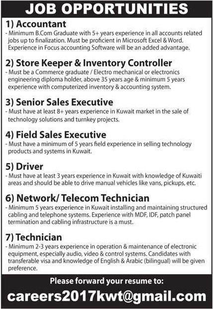 09 FEB 2017 – KUWAIT JOBS - JobsChip